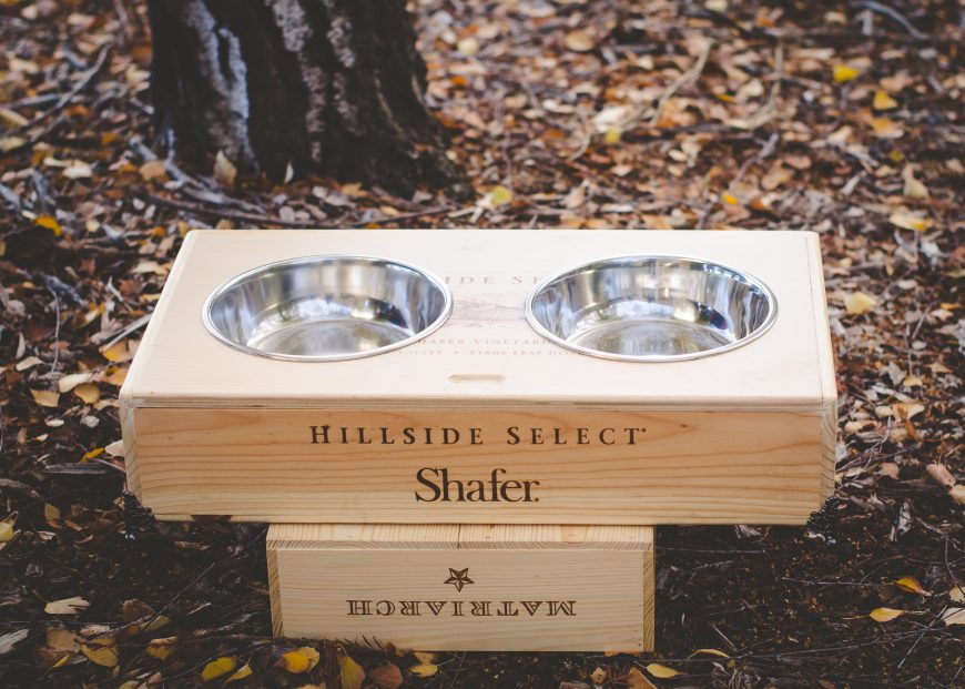 wine crate dog bowl